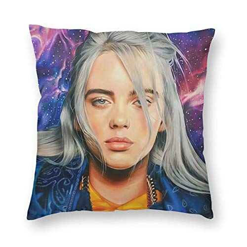 SSG One Street Luxury Decorative Throw Pillow Cover Case for Sofa & Bedroom, Music Girl Billie Eilish Anime Printing Galaxy Background, Bedbug Velvet Cushion Case with Hidden Zipper, 24 X 24 Inch