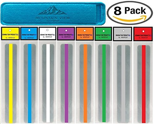 Overlay White Clear ((8 PACK) Reading Guide Strips by NISPCO® / Highlighter / Highlight Strips / Colored Overlays / Bookmark / Assorted Colors /helps with dyslexia / DOMINATION PRODUCTS® Exclusively by NISPCO)