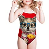 Bigcardesigns 3-8 Years Old Baby Girls Conjoined Swimsuit Dog Print Kids Bikini