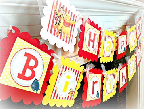 (Winnie the Pooh Inspired Happy Birthday Banner - Red Stripes, Yellow Polka Dots & White Accents - Party Packs Available )