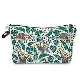 Cosmetic Bag for Women,Loomiloo Adorable Roomy Makeup Bags Travel Waterproof Toiletry Bag Accessories Organizer Sloth…