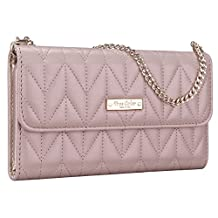 Samsung Galaxy S5 Wallet Case, True Color® [Night Out] Premium Chevron Quilted Pattern Wallet Wristlet Purse Clutch Case Cover for Samsung Galaxy S5 i9600 - Taupe