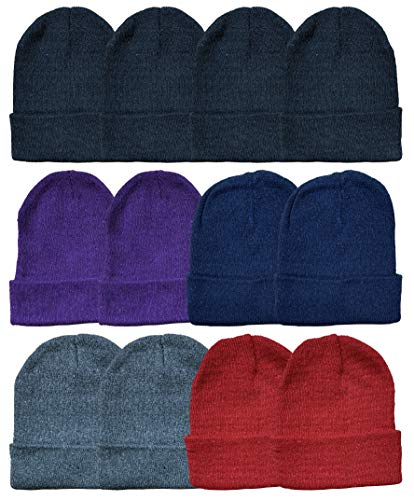 Yacht & Smith Mens Womens Warm Winter Hats in Assorted Colors, Mens Womens Unisex (12 Pack Assorted Solids (A))