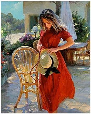 赤い女の子によって椅子図diyデジタル絵画による数字現代壁アートキャンバス絵画ユニークなギフト家の装飾40×50センチ