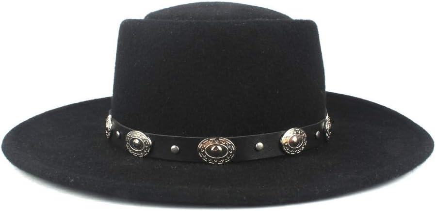 Sombrero, Plana de la manera del sombrero Señoras camionero 100% lana Flat Top caballero del sombrero de piel del sombrero de los hombres del invierno del otoño del sombrero de correa del metal