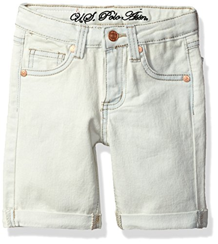 U.S. Polo Assn. Girls' Toddler Stretch Sateen Denim Bermuda Shorts, White Wash ()