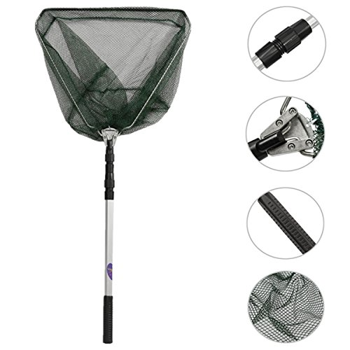 Tools & Equipments - Portable Triangular Folding Fishing Landing 3 Section Extending Pole Handle - Collapsible Place Earnings Net Income Foldaway Profit Meshwork Collapsable Profits - (3 Section Telescoping Pole)