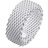 BOHG Jewelry Womens 925 Sterling Silver Plated Fashion Wide Korean style Braided Mesh Ring Wedding Band Size 9