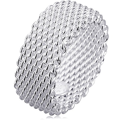 (BOHG Jewelry Womens 925 Sterling Silver Plated Fashion Wide Korean style Braided Mesh Ring Wedding Band Size 9)