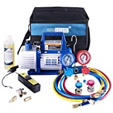 VIVOHOME 110V 1/3 HP 4CFM Single Stage Rotary Vane Air Vacuum Pump and R134a AC Manifold Gauge Set Kit with Leak Detector Carry Bag for HVAC Air Conditioning Refrigeration Recharging ...