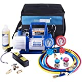 VIVOHOME 110V 1/3 HP 4CFM Single Stage Rotary Vane Air Vacuum Pump and R134a AC Manifold Gauge Set Kit with Leak Detector Carry Bag for HVAC Air Conditioning Refrigeration Recharging