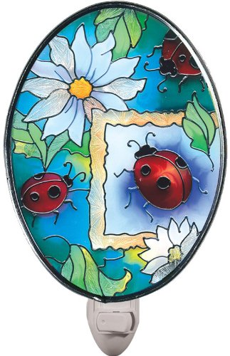 Joan Baker Designs NL460 Ladybugs Art Glass Night Light, 2-3/4 by 4-Inch