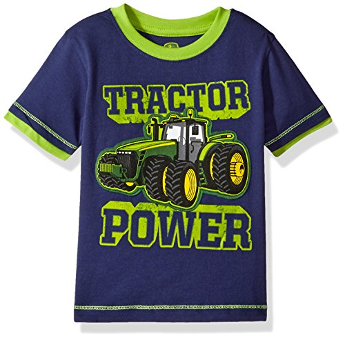John Deere Baby Boys' Toddler Graphic Tee, Navy/Lime Green, 2T