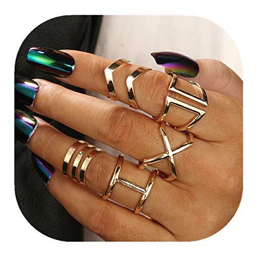 POYDORA 5 pcs Big Vintage Bohemian Stack Rings V Rhinestone Joint Rings Knuckle Nail Ring Set for Women Girls