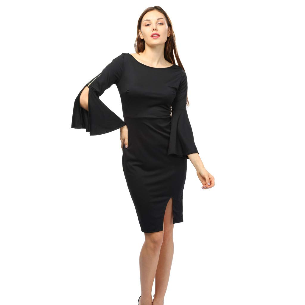 408a6326dac Amazon.com  Women Dress Daoroka Ladies Zipper Wear Work Office Pencil Flare  Sleeve Elegant Casual Skirt Bodycon Sheath Party Dress (S