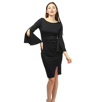 Women Dress Daoroka Ladies Zipper Wear Work Office Pencil Flare Sleeve  Elegant Casual Skirt Bodycon Sheath 3f4b48b7d612