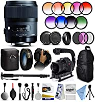 "Sigma 35mm f/1.4 Art DG HSM Prime Lens with 10x HD2 Macro Lens, 3pcs Filter Kit, 9pcs Graduated Filter, 72"" Monopod, 10pcs Cleaning Kit and Advanced Accessory Kit for Canon DSLR Cameras (340101)"