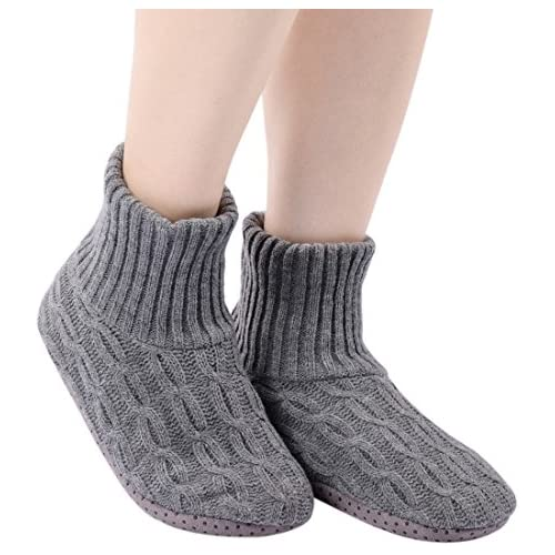 Panda Bros Fluffy Slipper Socks with Non Slip Women House Lined Socks Boat Super Cozy Hospital Slippers (middle gray, 8-10)