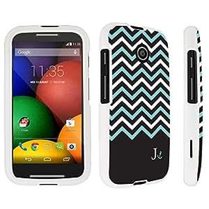 DuroCase ? Motorola Moto E (2014 Released) Hard Case White - (Black Mint White Chevron J)