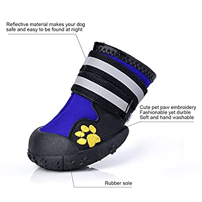 Fantastic Zone Waterproof Pet Boots Dog Boots for Various Size Dogs Labrador Husky Paw Protectors Shoes 4 Pcs