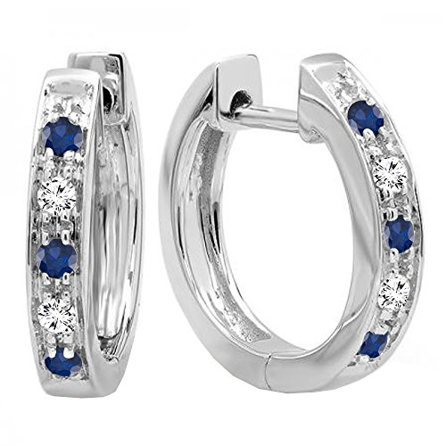 10K White Gold Round Blue Sapphire & White Diamond Ladies Huggie Hoop Earrings by DazzlingRock Collection