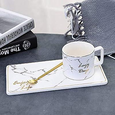 HUANGYIFEI Set de Taza de café de cerámica contorneada en Gold ...