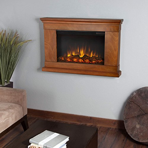 Real Flame 760E-P Wall-hung Electric Fireplace, Pecan, Small