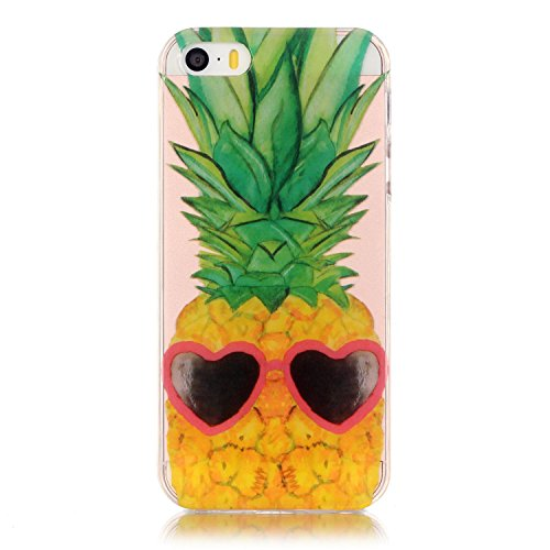 Price comparison product image Urberry Iphone SE Case, Iphone 5 Case, Iphone 5S Case, Cute Pineapple Print Soft Case with a Screen Protector