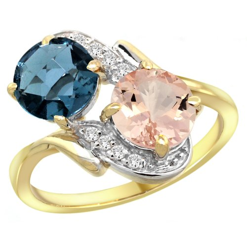 (14k Yellow Gold Diamond Natural London Blue Topaz & Morganite Mother's Ring Round 7mm, size 10)