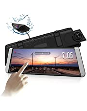 "AUTO-VOX X1 9.88""Full Touch Screen Stream Media Dual Lens Mirror Dash Cam AHD Reversing Backup Camera kit,1296P FHD Front Camera and 720P Rear View Recorder Dash Cam with Auto Brightness,WDR,LDWS,GPS"