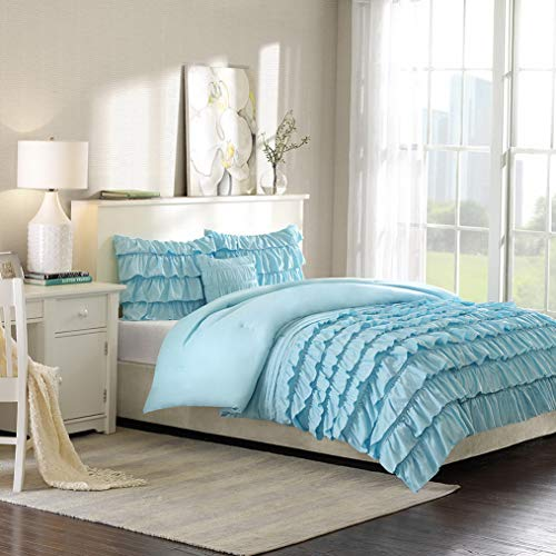 Kaputar Beautiful Teal Blue Light Aqua Soft Modern Teen Girl Ruffled Ruch Comforter Set | Model CMFRTRSTS - 971 | Queen