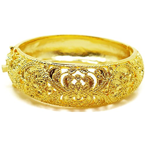 Carve Lai Thai Gold Plated Bangle 24k Thai Baht Yellow Gold Filled Bracelet - Pure Brass Bangle