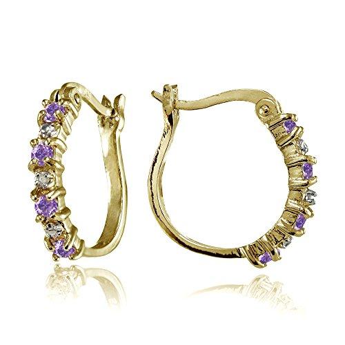 Yellow Gold Amethyst Earrings - 5