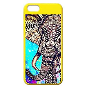 Aztec Vintage Elephant Protective Colorful Hard Shell Yellow Cover Case for iPhone 5C