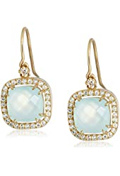 Kalan by Suzanne Kalan 14k Gold, Chalcedony, and White Sapphire Dangle Earrings
