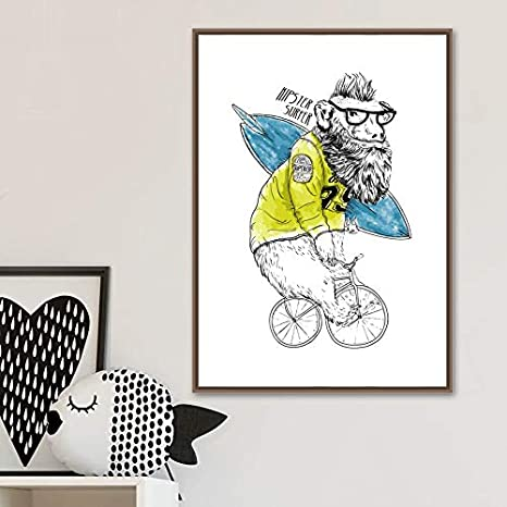 Babuino de dibujos animados Bicicleta de Surf Tabla Nórdica Arte ...