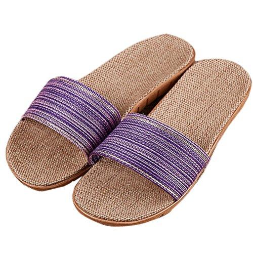 Nanxson (tm) Femmes Vêtements Pour Hommes Été Anti Dérapage Lin Pantoufle Tx0026 Violet
