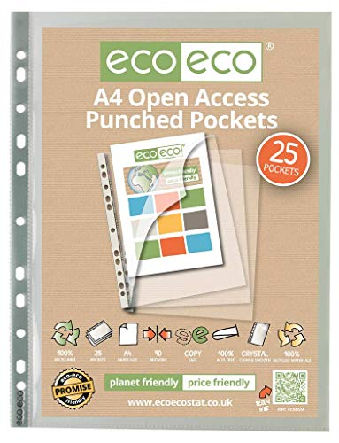 (eco-eco A4 100% Recycled Premier Open Access Multi Punched Pockets x)