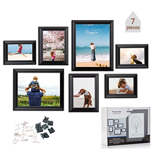 OyeArts 7Pcs Picture Frames Set Photo Frames for Wall or Tabletop Display - Including Two 8x10, Two 5x7, Three 4x6, Wall Gallery for Decoration(Black)