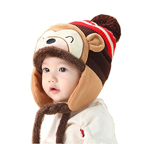 [TAORE Winter Warm Kid Baby Girl Boy Ear Thick Warmer Knit Hat Beanie Cap Hat (Coffee)] (Cute Elf Costumes For Kids)