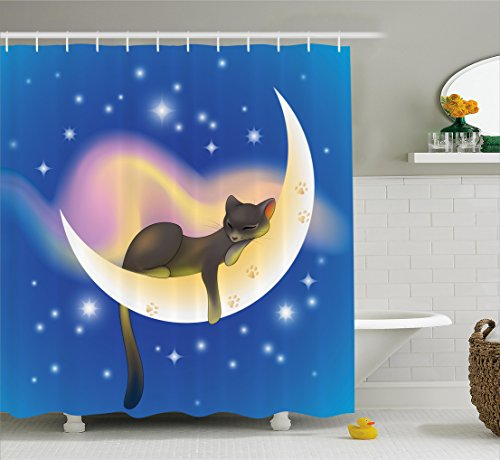 Cat Shower Curtain by Ambesonne, Cat Sleeping on Crescent Moon Stars Night Sweet Dreams Themed Kids Nursery Design, Fabric Bathroom Decor Set with Hooks, 70 Inches, Blue Yellow Themed Christmas Presents