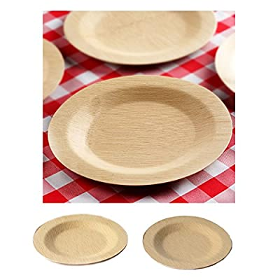 50 Pcs - Sleek Disposable Natural Bamboo Square Plates