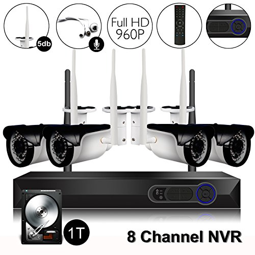 CAMVIEW Wireless Security Home Surveillance System Expandable 8CH 960P WiFi NVR + 4Pcs 1.3MP 960P Wireless IP CCTV Cameras, Audio-in Plug, 65FT Night Vision, Waterproof, 1TB HDD - Microphone Vision Waterproof Night