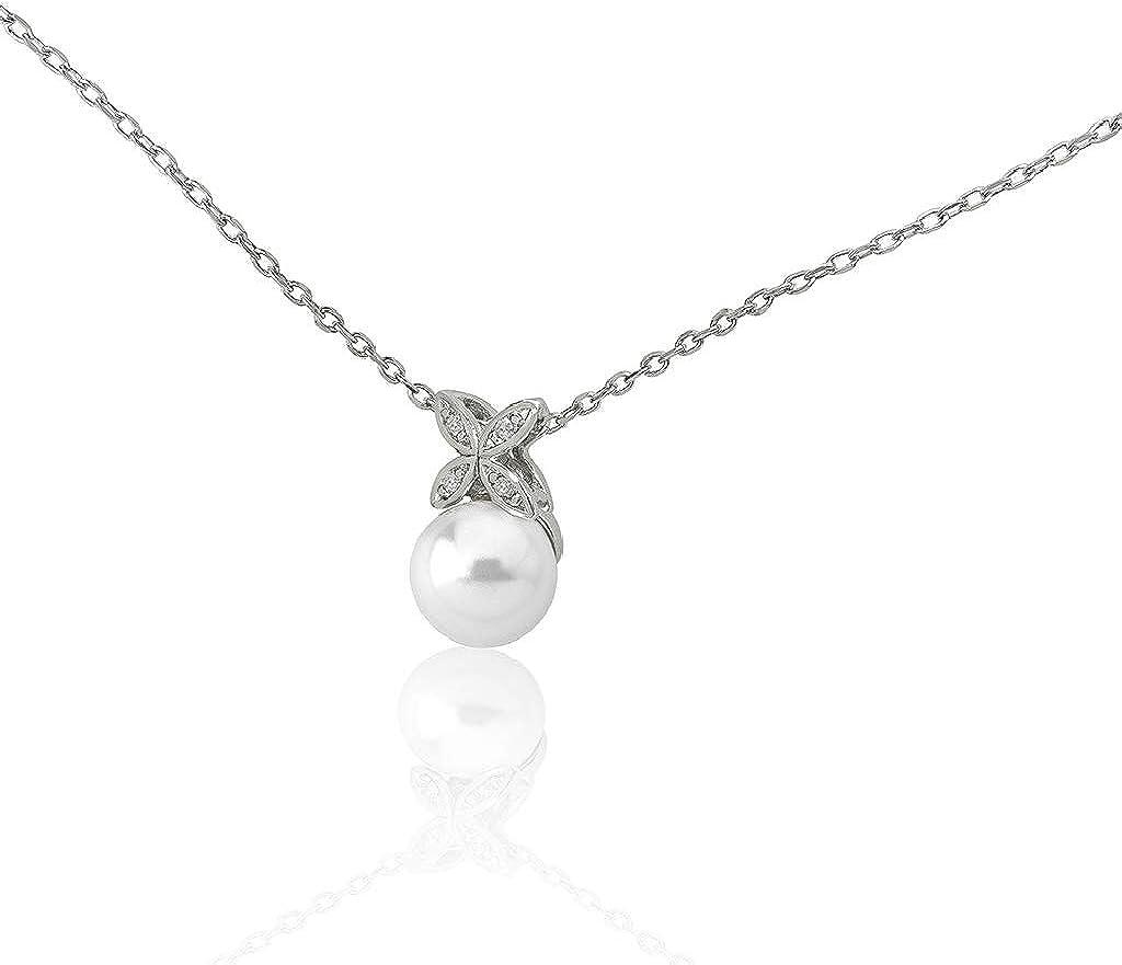 Majorica 16041.01.2.000.010.1 Colgante de Mujer Plata Circonitas Perla 10 mm Medida 40/45 cm