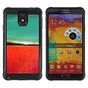 Suave TPU Caso Carcasa de Caucho Funda para Samsung Note 3 / Teal Red Painting Nature Autumn / STRONG