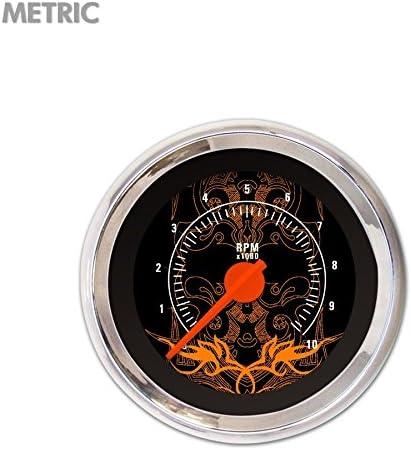 Orange Modern Needles, Chrome Trim Rings, Style Kit Installed Aurora Instruments 5436 Tribal Black Orange Accents Tachometer Gauge