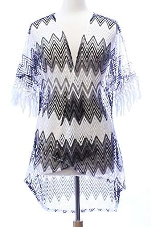 LL- Black and White Zig Zag Lace Fringe Open Kimono Ladies Cover Up Medium