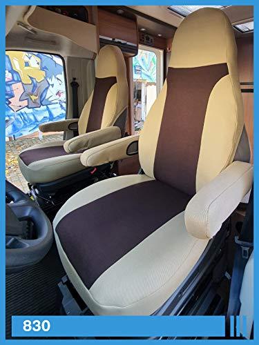 Maat stoelhoezen compatibel met camper bestuurder en passagiers Kleurnummer: 830 beige mokka