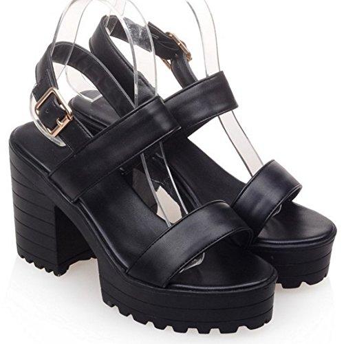 COOLCEPT Damen Mode Knochelriemchen Sandalen Open Toe Blockabsatzs Slingback Schuhe Schwarz