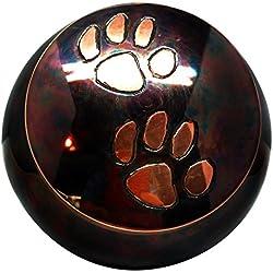 Odyssey Raku- Copper- Brass Double Paw Print Large Pet Urn